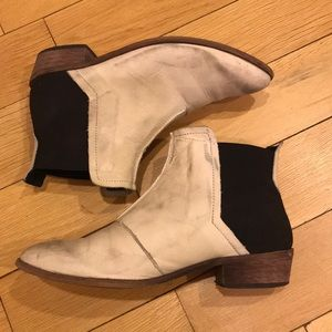 Off white distressed boots